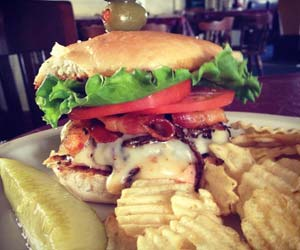 Chicken Sandwich with pickle and potato chips